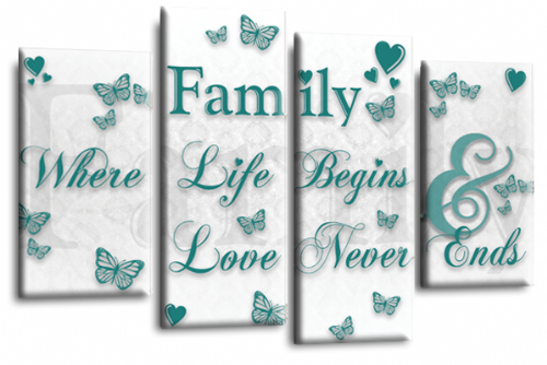 Family Quote Canvas Wall Art Picture Home Print White Teal